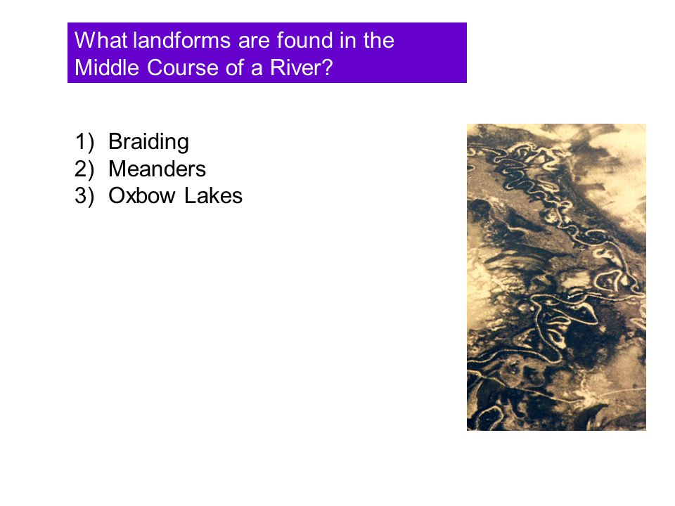 What landforms are found in the Middle Course of a River