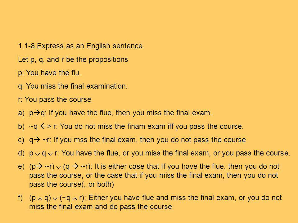 1.1-8 Express as an English sentence.