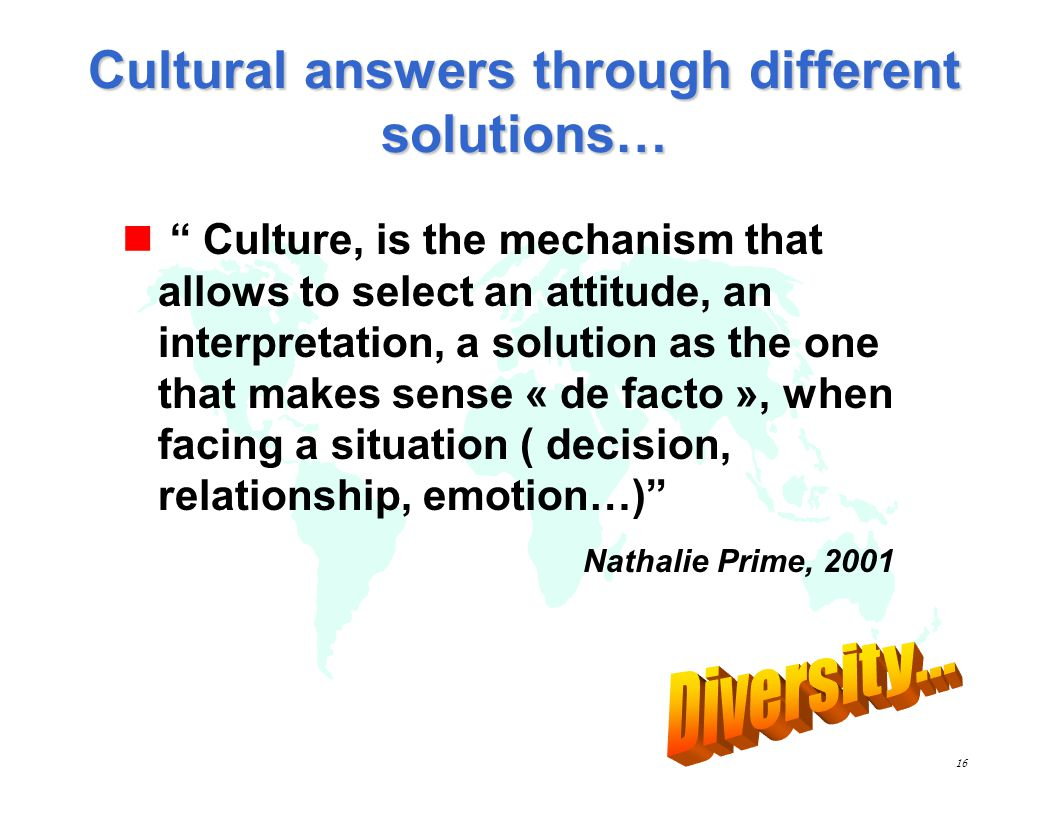 Cultural answers through different solutions…