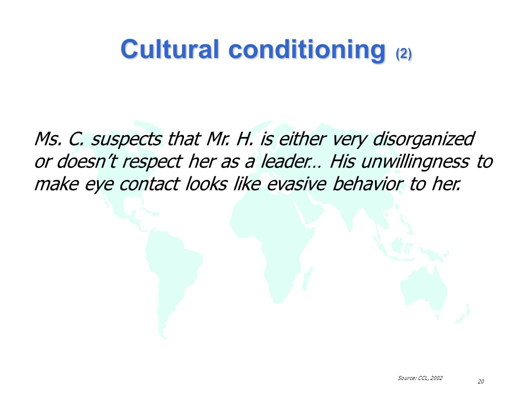 Cultural conditioning (2)