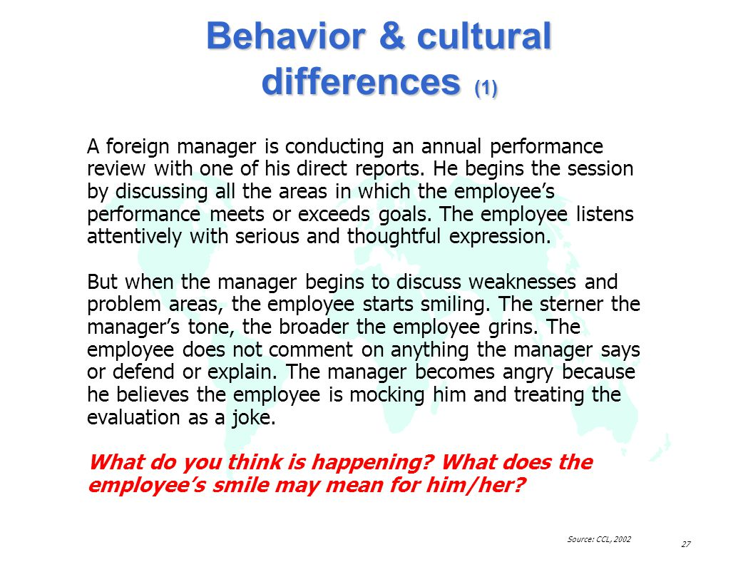 Behavior & cultural differences (1)