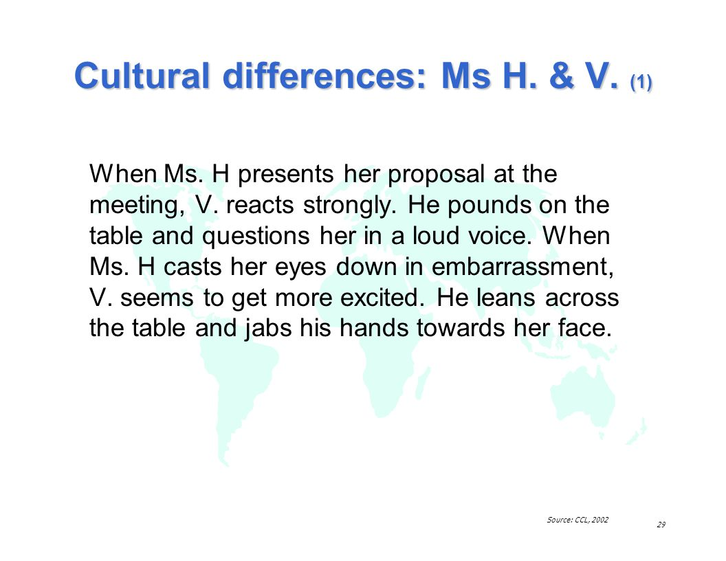 Cultural differences: Ms H. & V. (1)