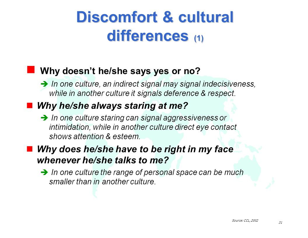 Discomfort & cultural differences (1)