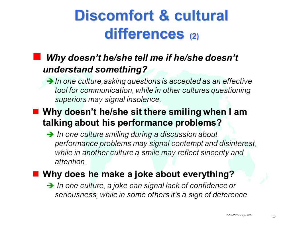 Discomfort & cultural differences (2)