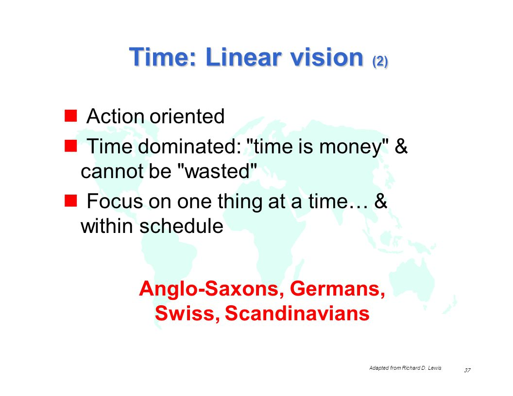 Time: Linear vision (2) Action oriented