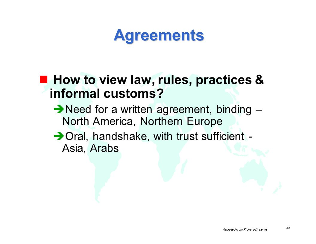 Agreements How to view law, rules, practices & informal customs