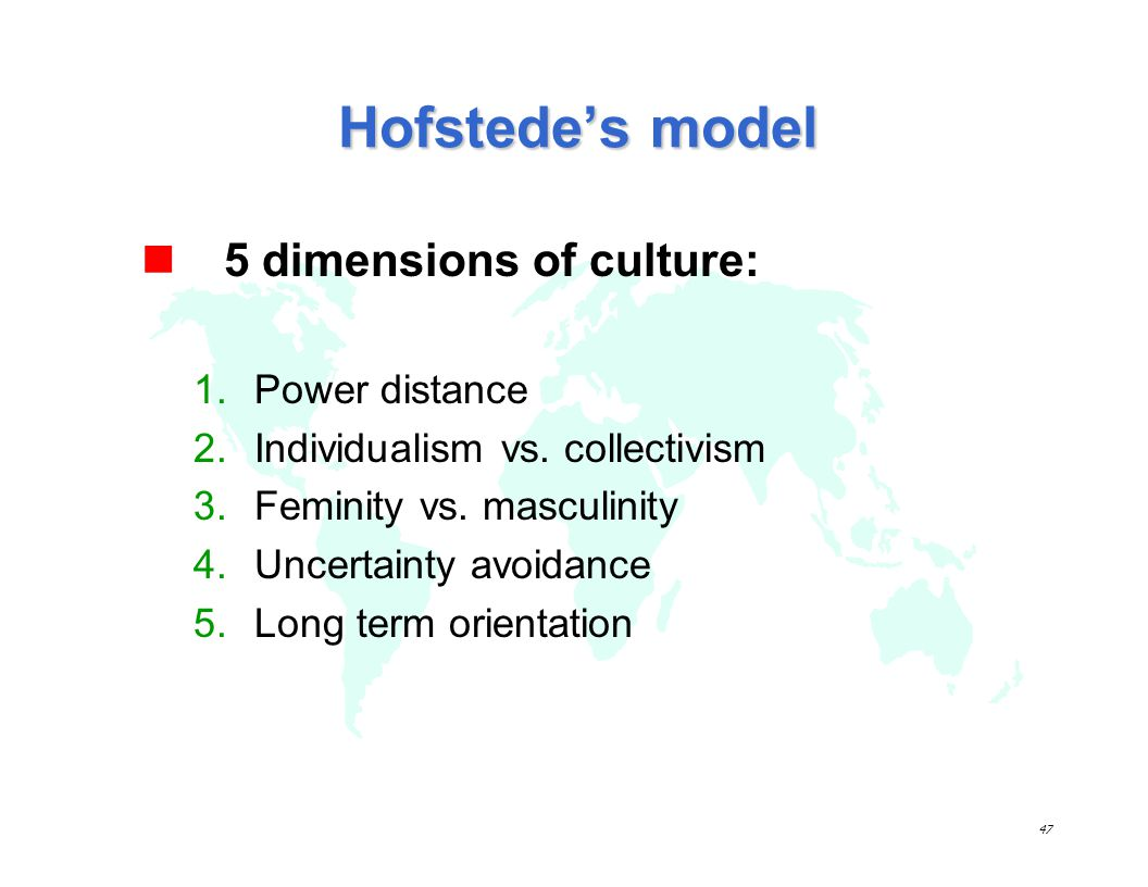 Hofstede's model 5 dimensions of culture: Power distance