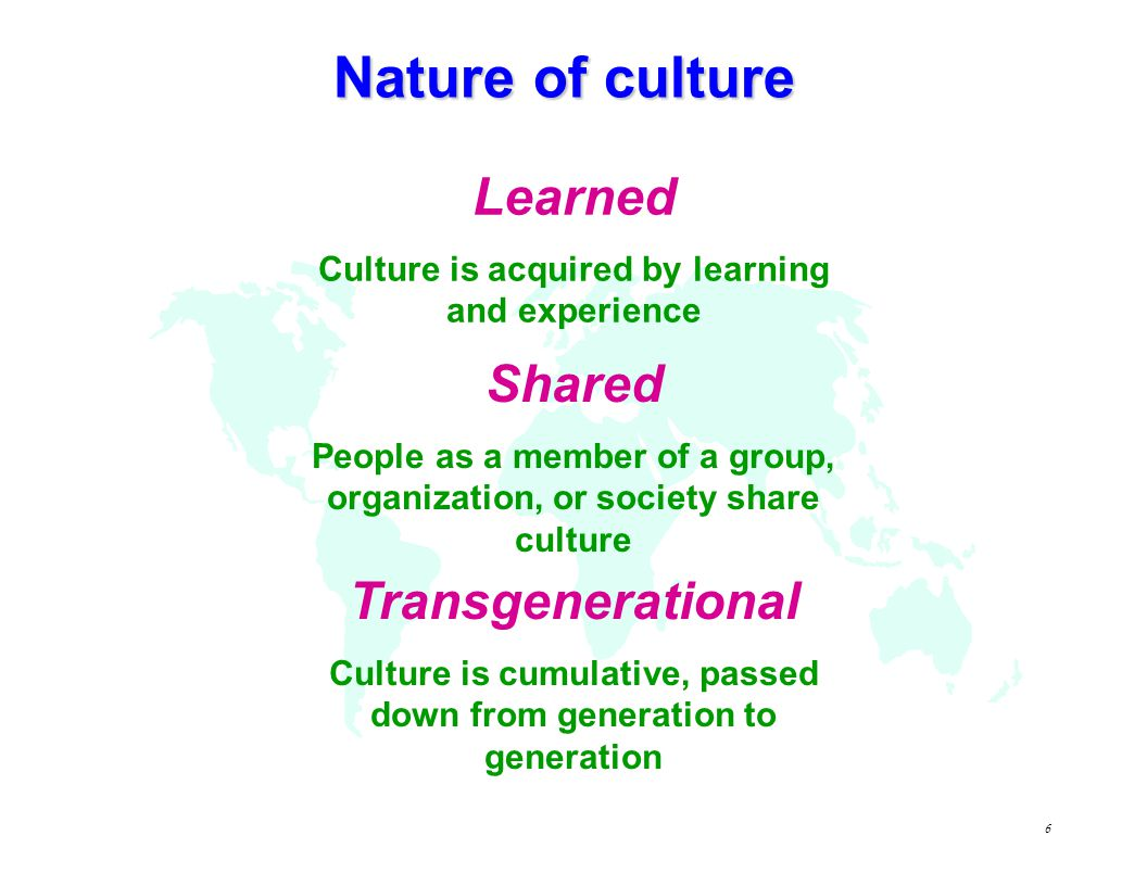 Nature of culture Learned Shared Transgenerational