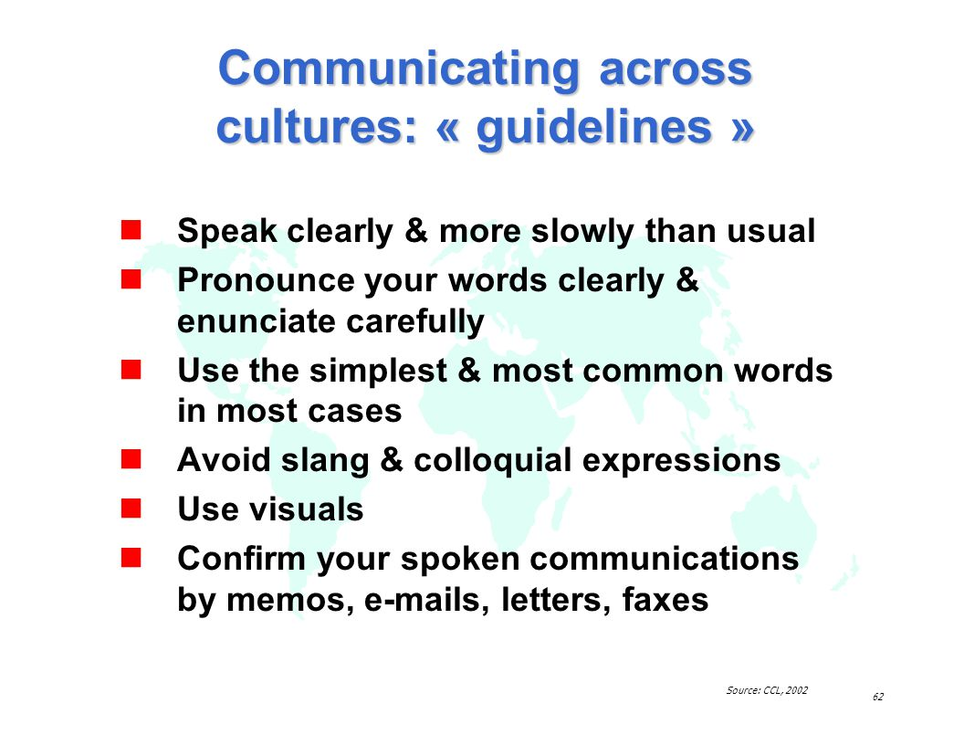 Communicating across cultures: « guidelines »