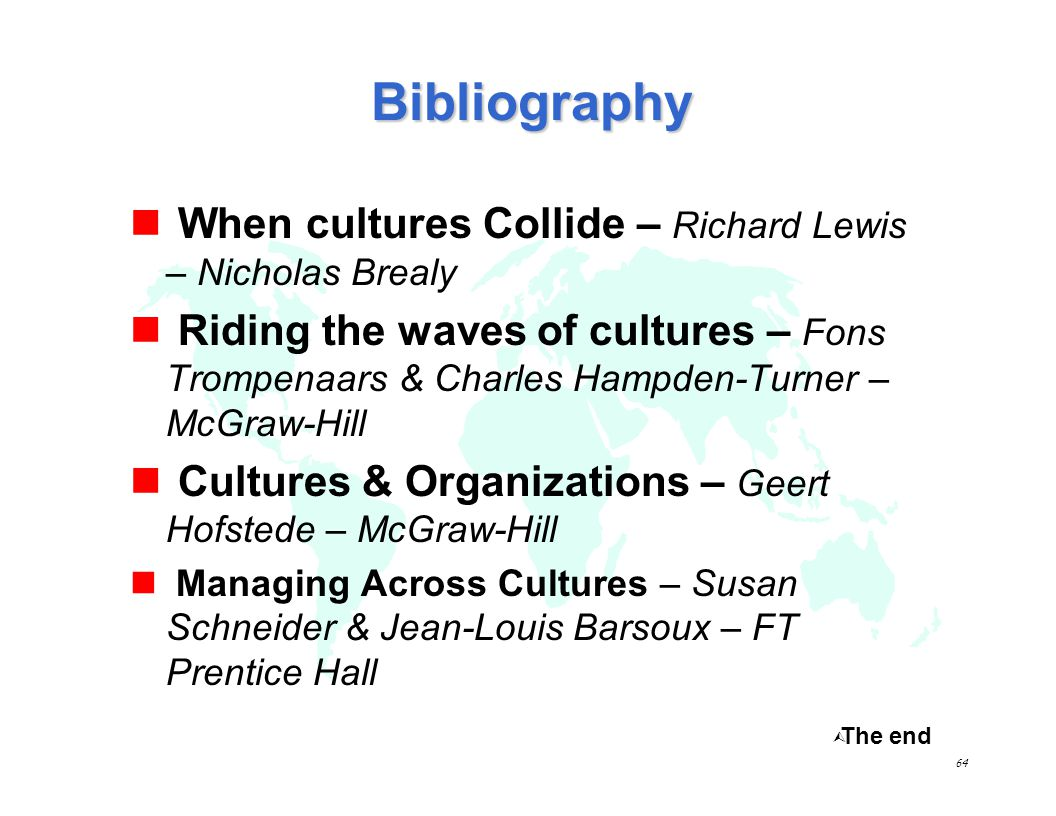 Bibliography When cultures Collide – Richard Lewis – Nicholas Brealy