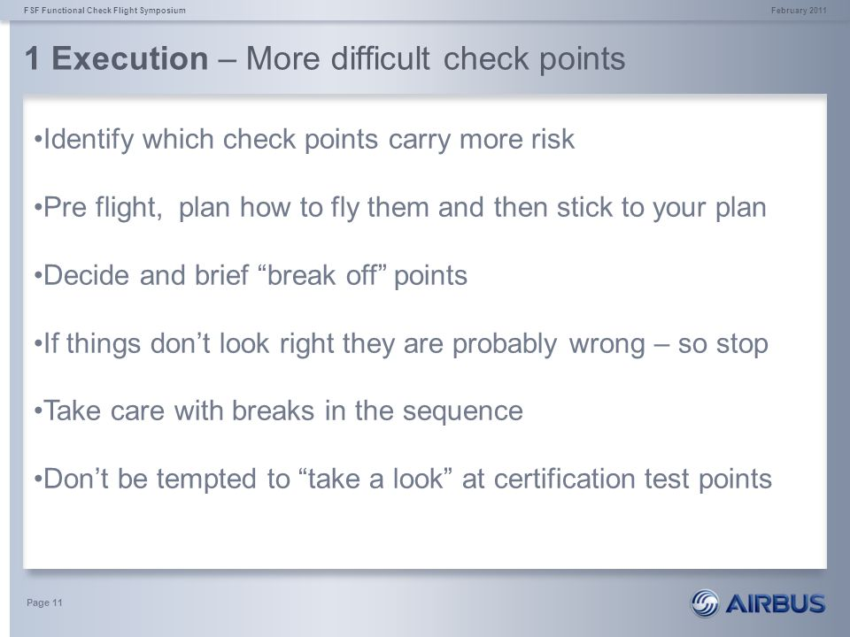 1 Execution – More difficult check points