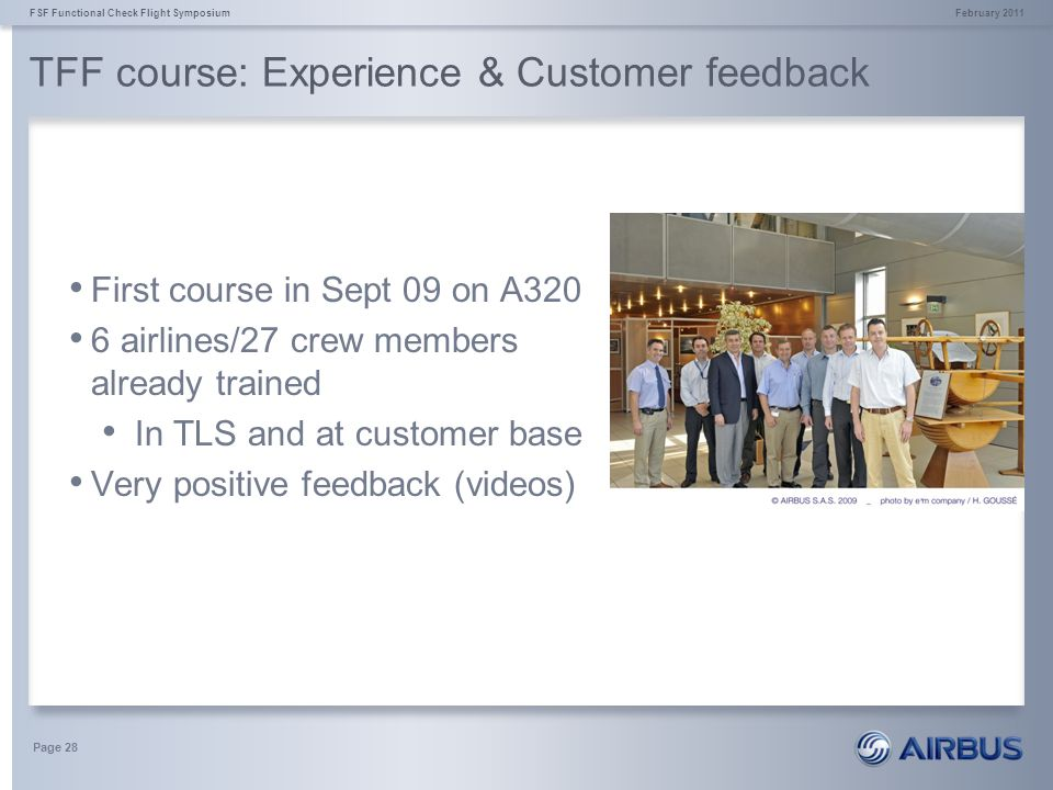 TFF course: Experience & Customer feedback