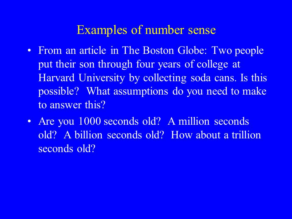 Examples of number sense