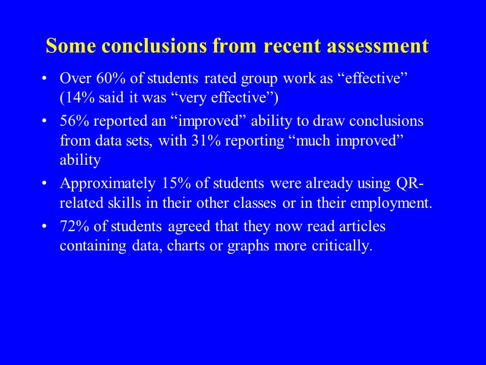 Some conclusions from recent assessment