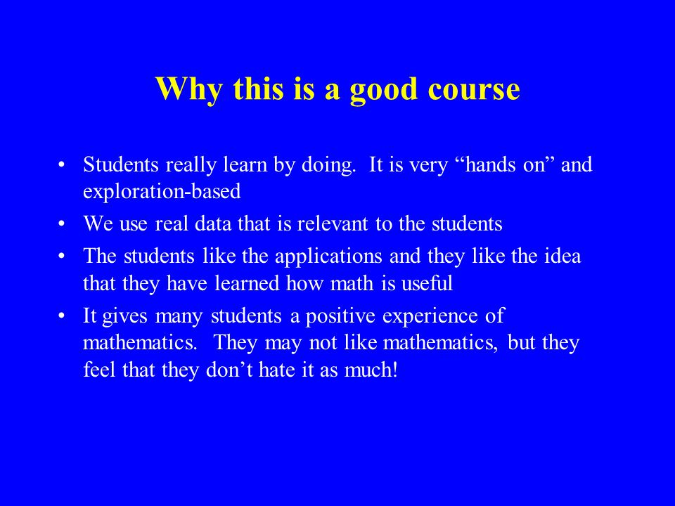 Why this is a good course