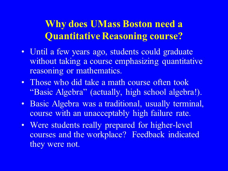 Why does UMass Boston need a Quantitative Reasoning course