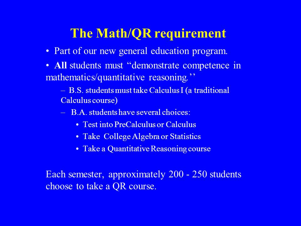The Math/QR requirement