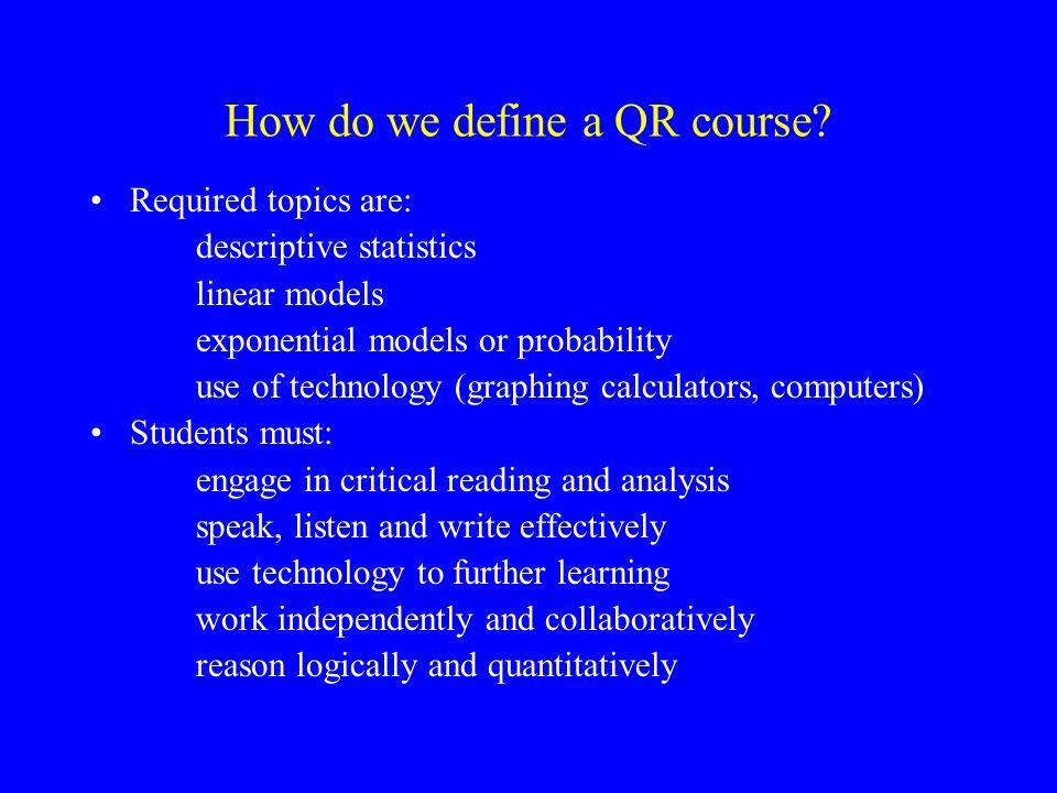 How do we define a QR course