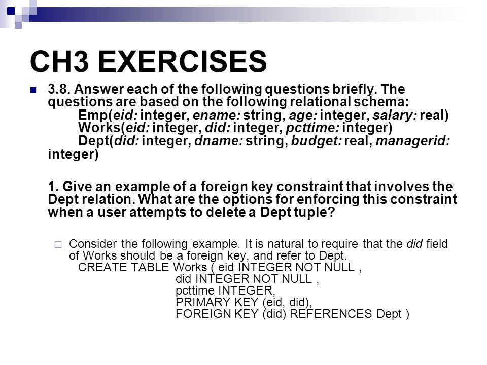 CH3 EXERCISES