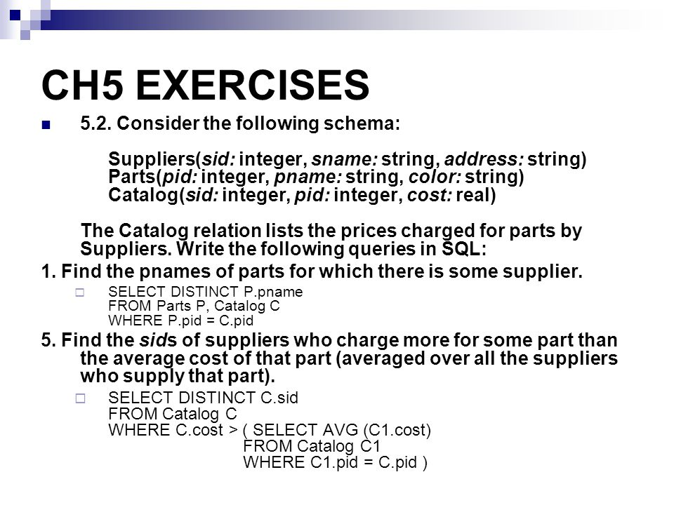 CH5 EXERCISES