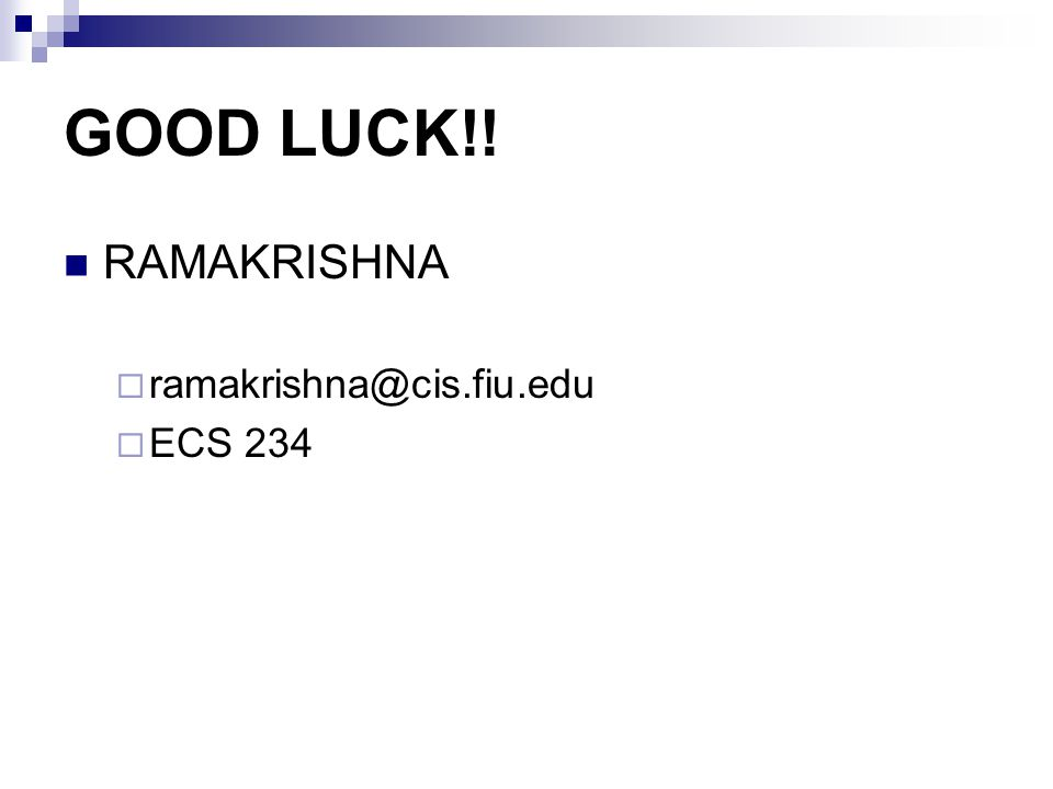 GOOD LUCK!! RAMAKRISHNA ECS 234