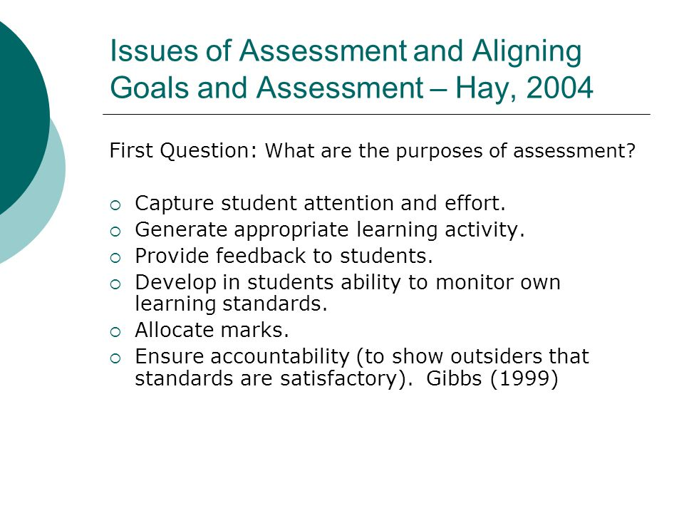 Issues of Assessment and Aligning Goals and Assessment – Hay, 2004