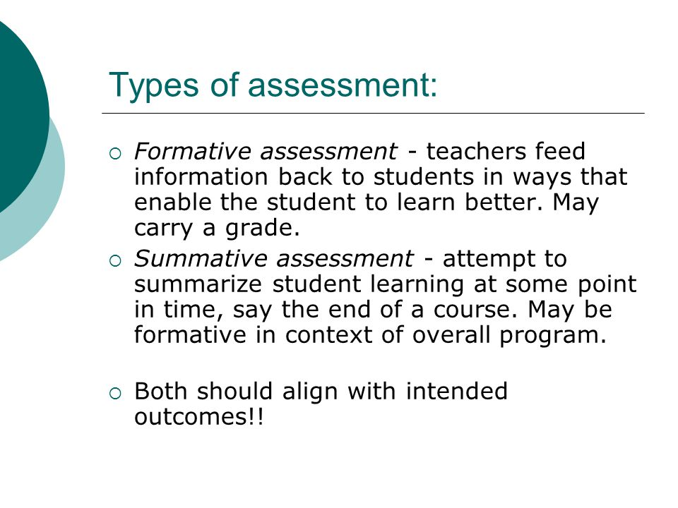 Types of assessment: