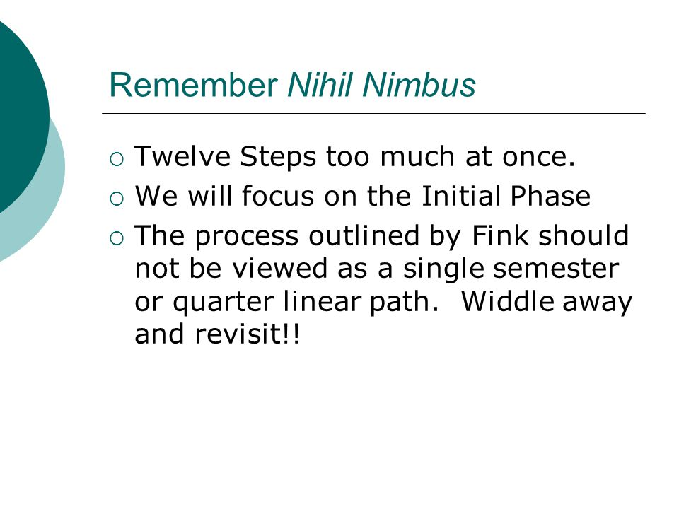 Remember Nihil Nimbus Twelve Steps too much at once.