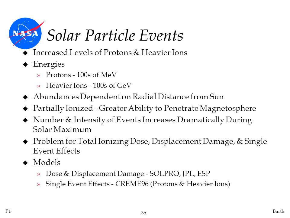Solar Particle Events Increased Levels of Protons & Heavier Ions