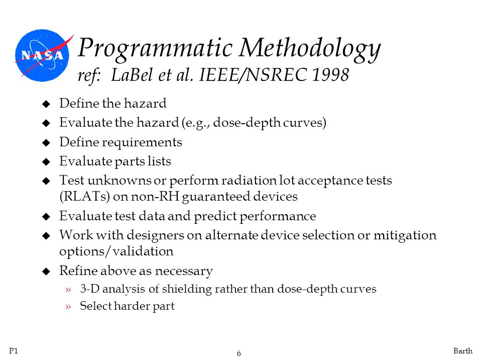 Programmatic Methodology ref: LaBel et al. IEEE/NSREC 1998