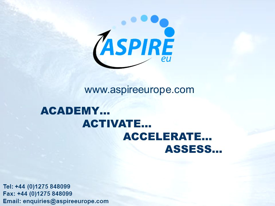 www.aspireeurope.com ACADEMY… ACTIVATE… ACCELERATE… ASSESS…