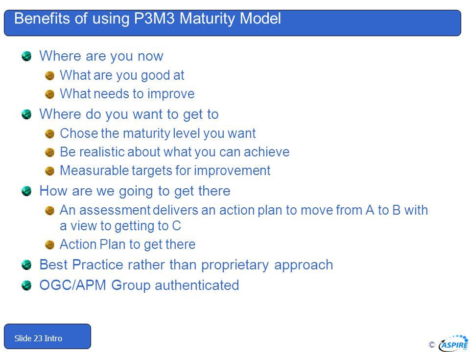 Benefits of using P3M3 Maturity Model