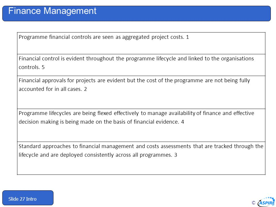 Finance Management Programme financial controls are seen as aggregated project costs. 1.