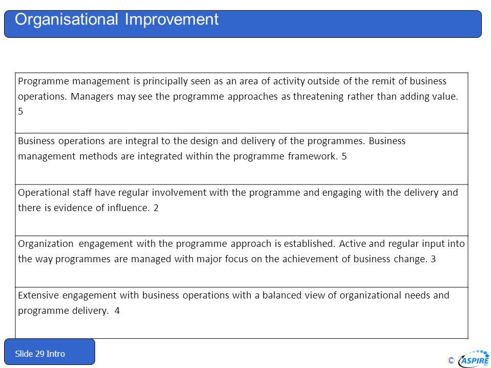 Organisational Improvement