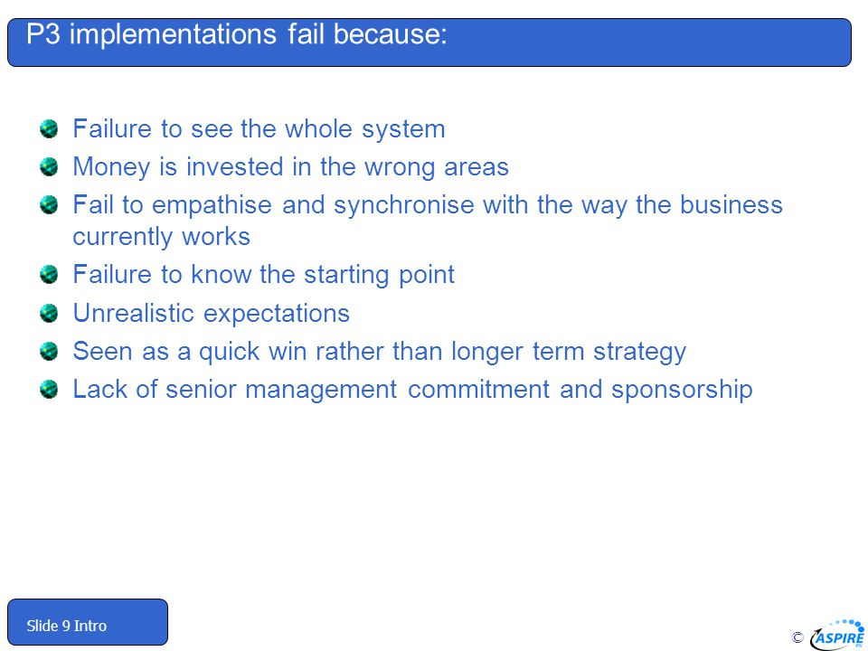 P3 implementations fail because: