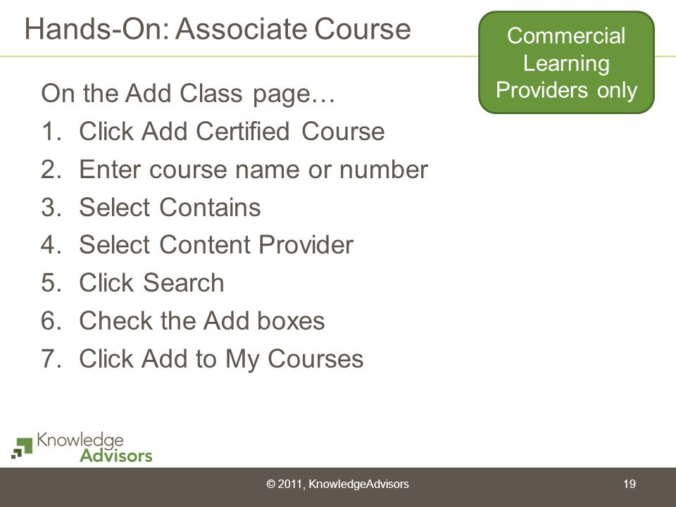 Hands-On: Associate Course