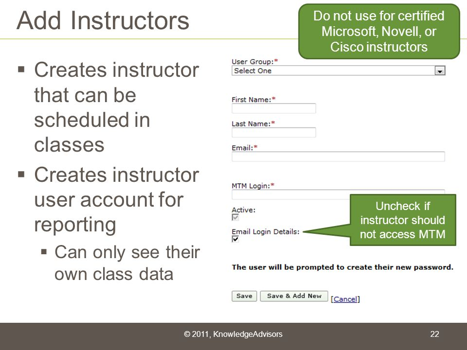 Add Instructors Creates instructor that can be scheduled in classes