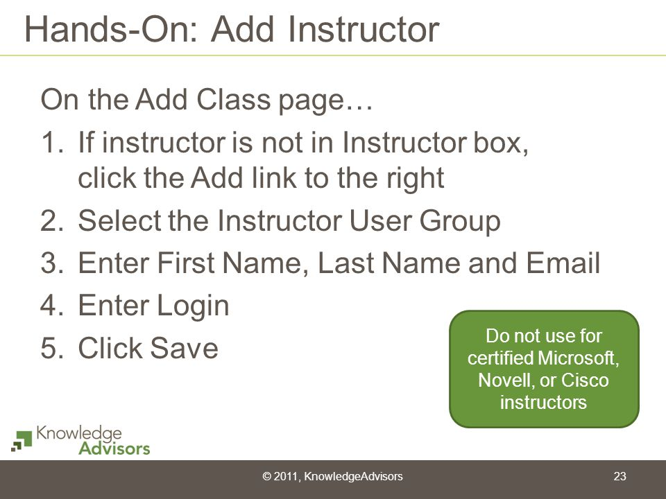 Hands-On: Add Instructor