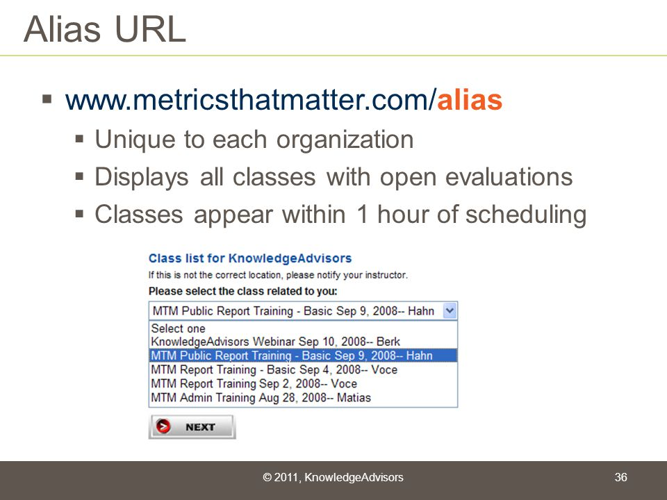 Alias URL www.metricsthatmatter.com/alias Unique to each organization