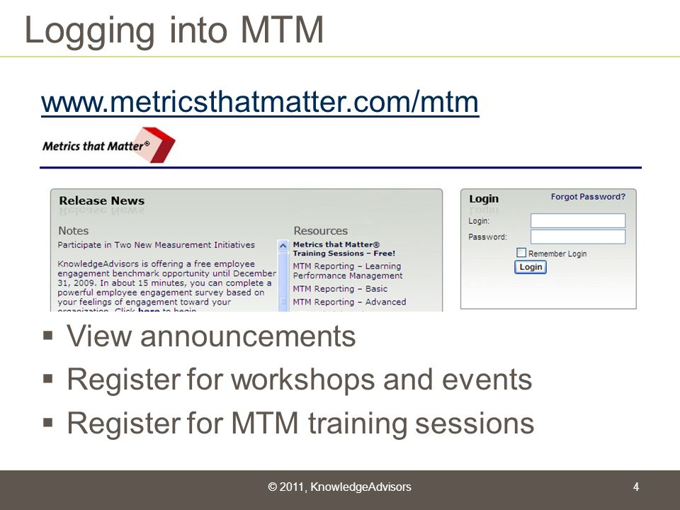 Logging into MTM www.metricsthatmatter.com/mtm View announcements