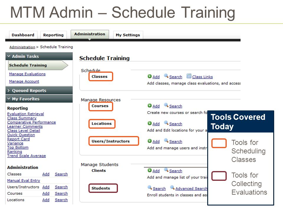 MTM Admin – Schedule Training