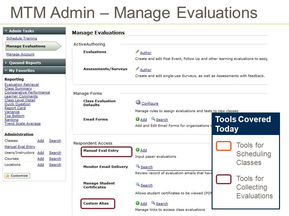 MTM Admin – Manage Evaluations