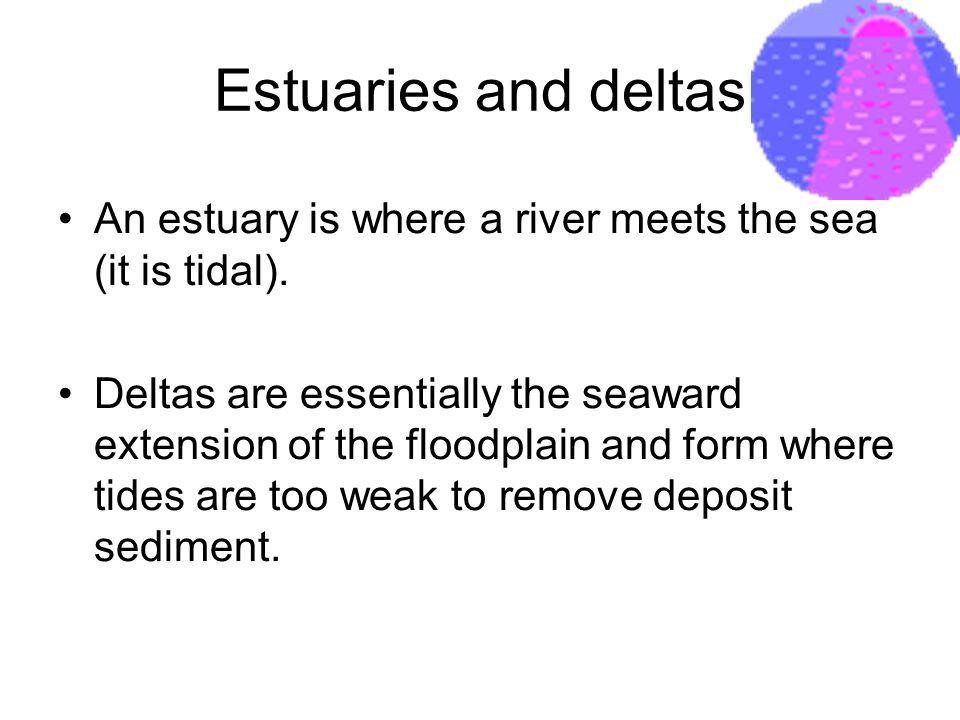 Estuaries and deltas An estuary is where a river meets the sea (it is tidal).