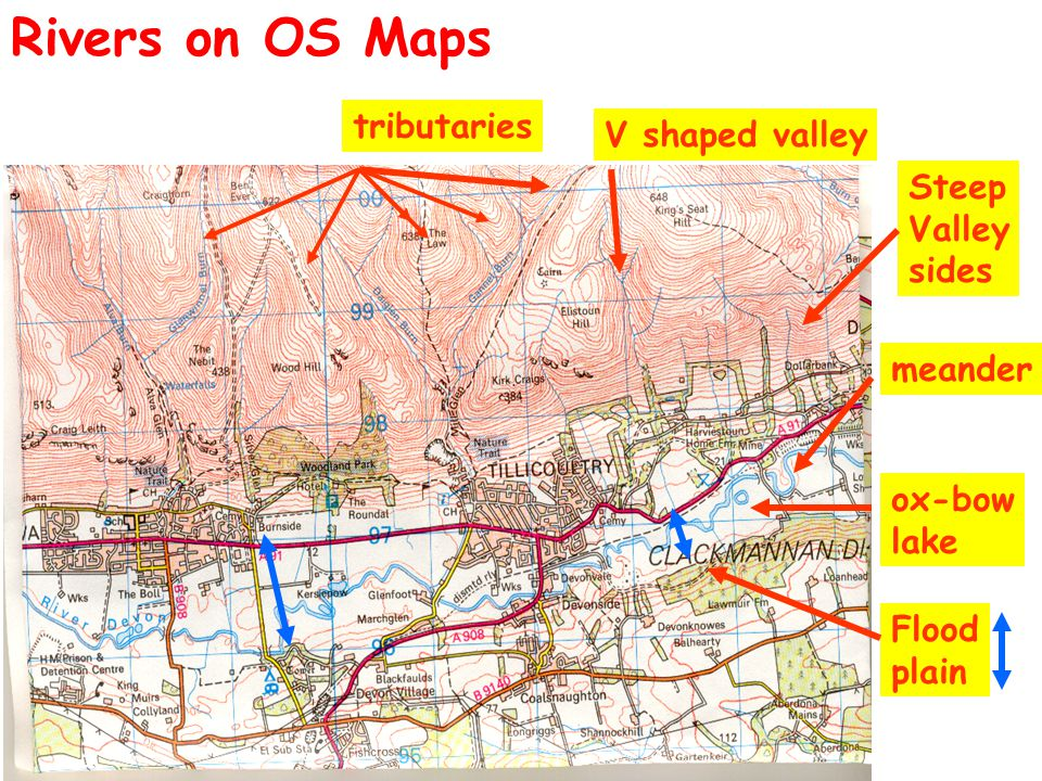Rivers on OS Maps tributaries V shaped valley Steep Valley sides