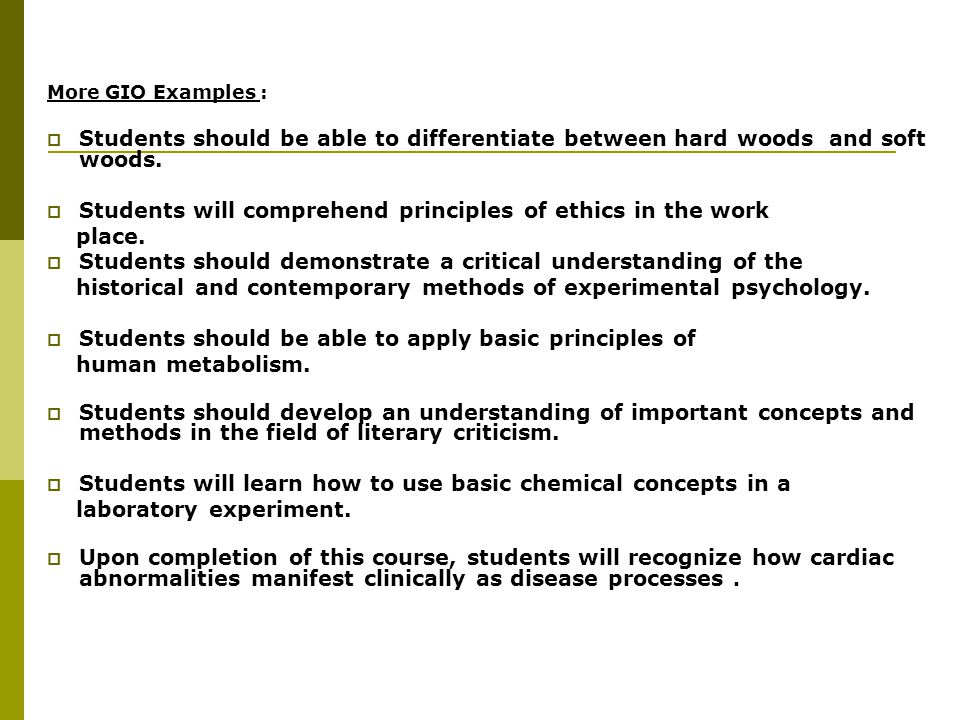 Students will comprehend principles of ethics in the work place.