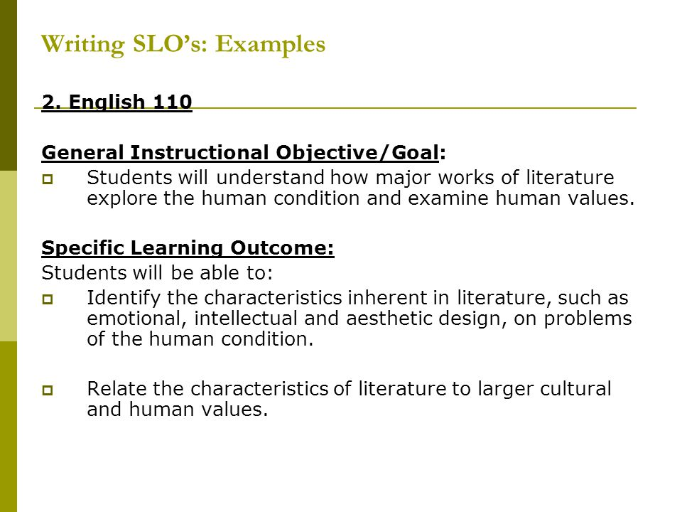 Writing SLO's: Examples