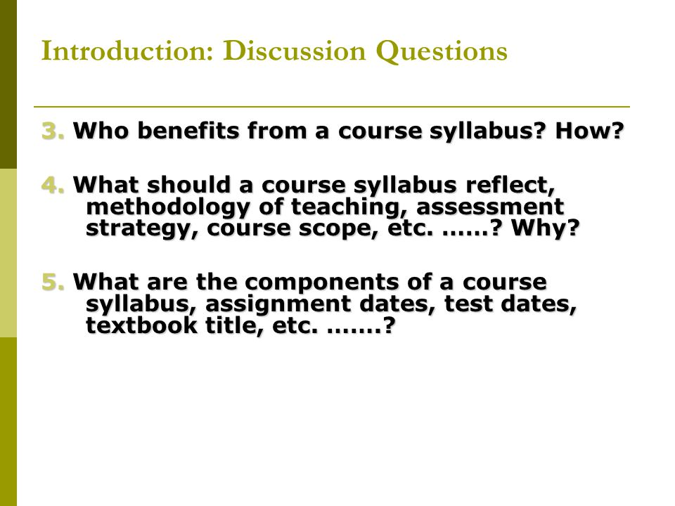 Introduction: Discussion Questions