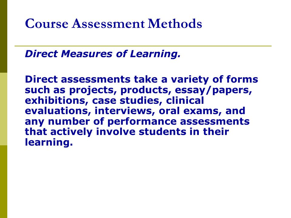 Course Assessment Methods