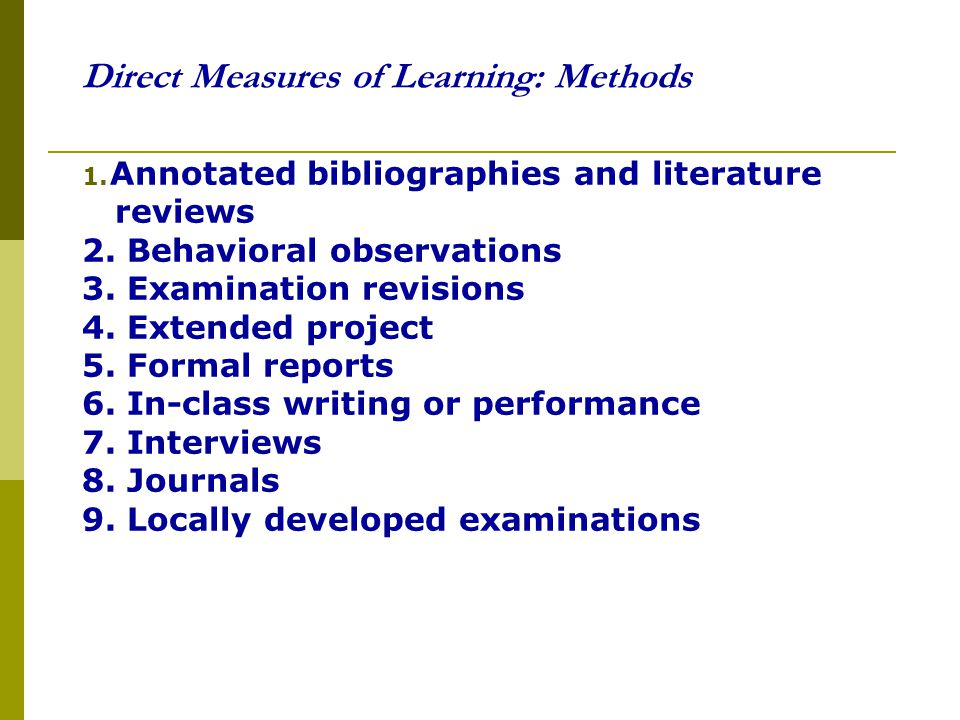 Direct Measures of Learning: Methods