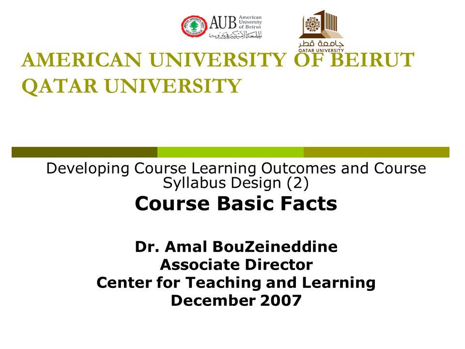 AMERICAN UNIVERSITY OF BEIRUT QATAR UNIVERSITY